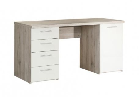 Písací stôl Beach - dub pieskový / biely
