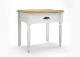 Nočný stolík Belinda - biela/dub masív