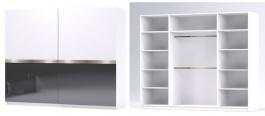 Šatná skriňa GLOSSY varianta 4 biela / grafit lesk