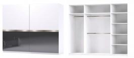 Šatná skriňa GLOSSY varianta 3 biela / grafit lesk
