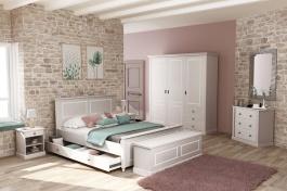Spálňa Casandra - šedá/biela patina