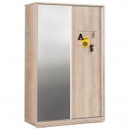 Šatníková skriňa s posuvnými dverami  a zrkadlom Veronica - dub svetlý/biela