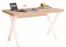 Jednoduchý písací stôl Veronica - dub svetlý/biela