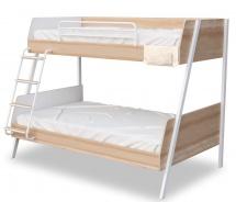 Študentská poschodová posteľ 90x200-120x200cm Veronica - dub svetlý/biela