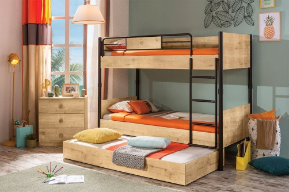 Poschodová posteľ so zásuvkou Cody 90x200cm - dub svetlý/čierna