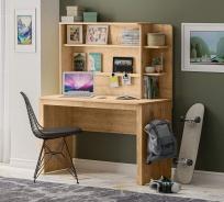Jednoduchý písací stôl s nadstavcom Cody - dub svetlý