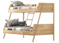 Poschodová posteľ s rozšíreným spodným lôžkom Cody - dub svetlý/béžová