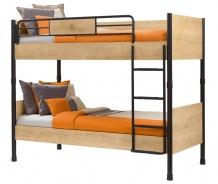 Poschodová posteľ Cody 90x200cm - dub svetlý/čierna
