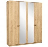 Štvordverová skriňa so zrkadlami Cody - dub svetlý
