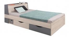 Študentska posteľ Gama 120x200cm s úložným priestorom - dub/antracit