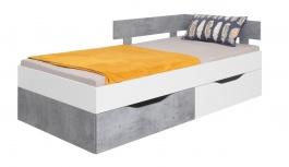 Detská posteľ Omega 90x200cm s úložným priestorom - biela/betón