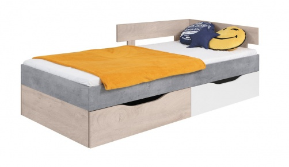 Detská posteľ Omega 90x200cm s úložným priestorom - biela/dub/betón