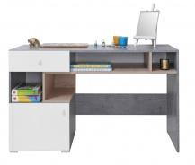 Písací stôl Omega - biela/dub/betón