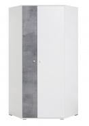 Rohová šatníková skriňa Omega - biela/betón