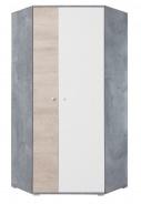 Rohová šatníková skriňa Omega - biela/dub/betón