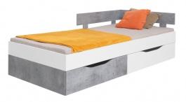 Študentská posteľ Omega 120x200cm s úložným priestorom - biela/betón