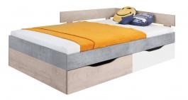 Študentská posteľ Omega 120x200cm s úložným priestorom - biela/dub/betón