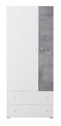 Šatníková skriňa Omega - biela/betón