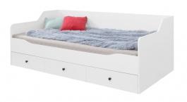 Detská posteľ Bjorn 90x200cm s úložným priestorom, škandinávsky štýl - biela