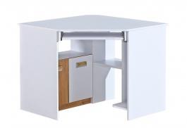 Rohový PC stôl Melisa - biela/dub nash