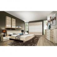 Spálne, skriňa + posteľ + 2 ks nočné stolíky, dub piesková / biela, VALERIA