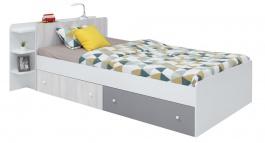 Študentská posteľ s úložným priestorom Beta 120x200cm - biela/dub wilton/šedá