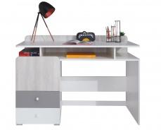 Písací stôl Beta - biela/dub wilton/šedá
