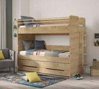 Poschodová posteľ s úložným priestorom a rebríkom Cody 90x200cm - dub svetlý