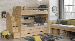 Poschodová posteľ s úložným priestorom a schodíkmi Cody 90x200cm - dub svetlý