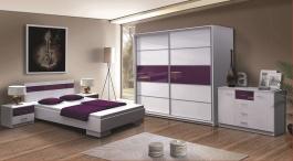 Spálňa DUBAJ F (posteľ 160, skriňa, komoda, 2 nočné stolíky)
