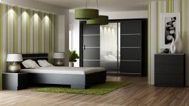 Spálňa VISTA čierna (posteľ 160, skriňa, komoda, 2 nočné stolíky)