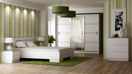 Spálňa VISTA biela (posteľ 160, skriňa, komoda, 2 nočné stolíky)