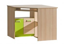 Rohový PC stôl Melisa - jaseň/zelená