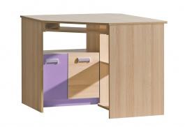 Rohový PC stôl Melisa - jaseň/fialová