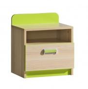 Detský nočný stolík Melisa - jaseň/zelená