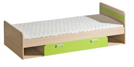 Detská posteľ 195x80cm s úložným priestorom Melisa - jaseň/zelená