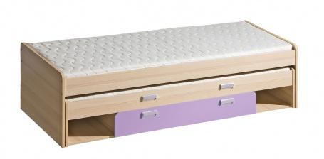 Posteľ s prístelkou aj úložným priestorom Melisa - jaseň/fialová