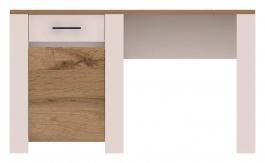 Písací stôl Aruba biela / dub wotan