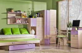 Detská izba Melisa I - jaseň/fialová