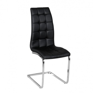 Jedálenská stolička, ekokoža čierna / chróm, Dulcia
