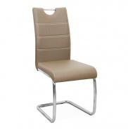 Jedálenská stolička, ekokoža cappucino, svetlé šitie / chróm, Abir NEW