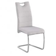 Jedálenská stolička, béžová látka, svetlé šitie / chróm, Abir NEW