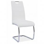 Jedálenská stolička, biela ekokoža, svetlé šitie / chróm, Abir NEW