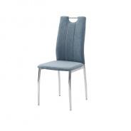 Jedálenská stolička, azúrová látka / chróm, OLIVA NEW