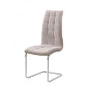 Jedálenská stolička, béžová látka / ekokoža béžová / chróm, Salomo NEW