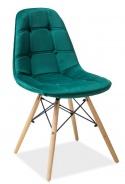 Jedálenská stolička AXEL III zelená aksamit / buk