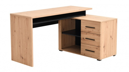 Písací stôl s kontajnerom Timmy - dub artisan/čierna
