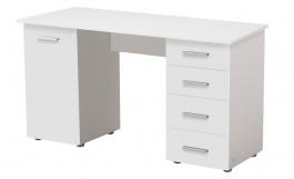 Písací stôl s dvierkami a zásuvkami Randy - biela