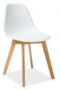 Jedálenská stolička MORIS biela / buk