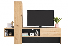Moderný televízny stolík Timothea - dub artisan/čierna
